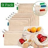 Meiruier 9pcs Bolsa Reutilizable Algodon de Vegetales,Bolsa de malla lavable,Bolsas Reutilizables Compra, Bolsas de Malla Transpirables Adecuado para Frutas y Verduras Productos Frescos2S*5M*2L
